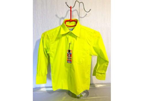 Детская однотонная рубашка зеленая