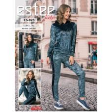 Жіночий велюровий костюм кольору синього джинса