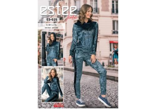 Женский велюровый костюм цвета синего джинса