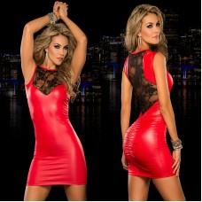 Клубное красное платье из лайки мини