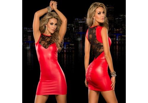 Клубне червоне плаття з лайки міні