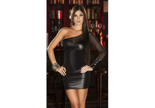Платье мини лайковое на одно плечо черное