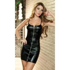 Платье мини лайковое на молнии черное